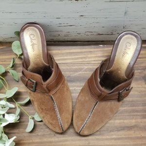 Cole Haan Suede & Leather Platform Mule Clogs 8.5